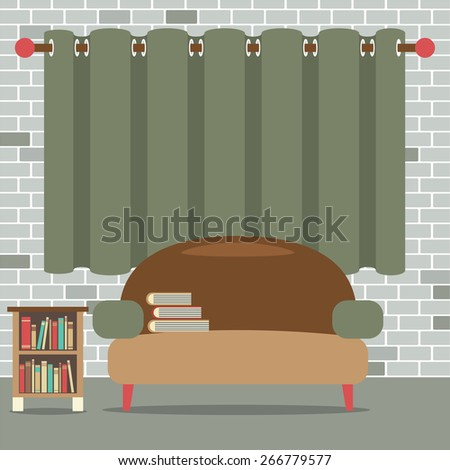 Sofa With Bookcase In Front Of Green Curtain Vector Illustration - stock vector
