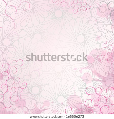 Soft and romantic letter or invitation pink background with floral graphics, curly lines and splashes. Fully editable spots and ringlets along the edges. - stock vector