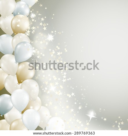 soft background with flowing stars and balloons - stock vector