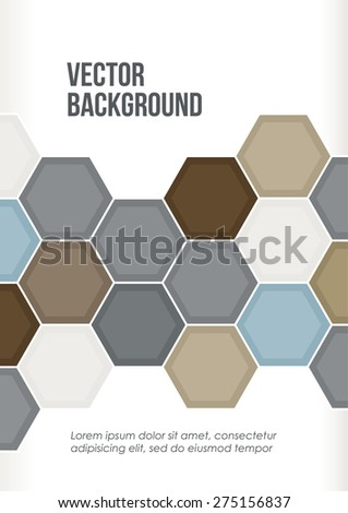 Soft color abstract geometric pattern. Blue, grey, brown polygons on a white background. Cover design template layout for corporate business card, booklet, brochure, flyer, poster, banner. Vector - stock vector