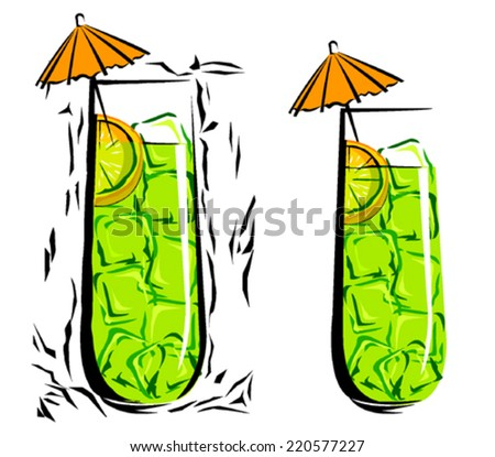 Soft Drink in woodcut style - stock vector