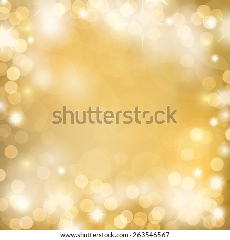 Soft golden lights. Abstract bokeh background. - stock vector