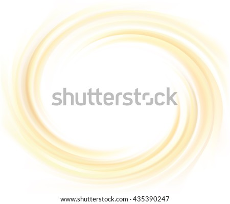 Soft light ecru color eddy flow beige fond of rippled surface. Closeup view with space for text in glowing center. Sweet yummy tasty volute fatty milky choco - stock vector
