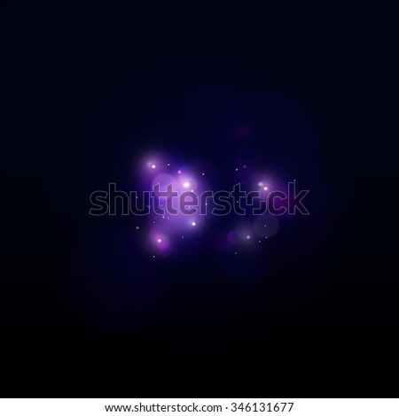 Soft light with bokeh on the dark background. Cyan and purple blur background like magic or space in vector - stock vector