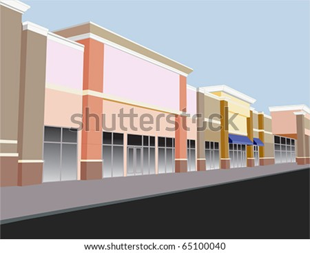 soft pastel colored strip mall in shades of coral, beige, and brown - stock vector
