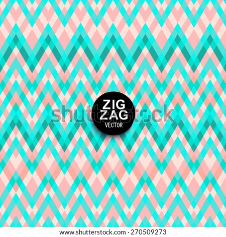 Soft pastel shades of pink and mint chevron ornament. Geometric vibrating wave wallpaper. Abstract Ethnic zigzag background with blending mode. - stock vector