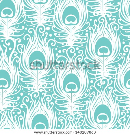 Soft peacock feathers vector seamless pattern background - stock vector