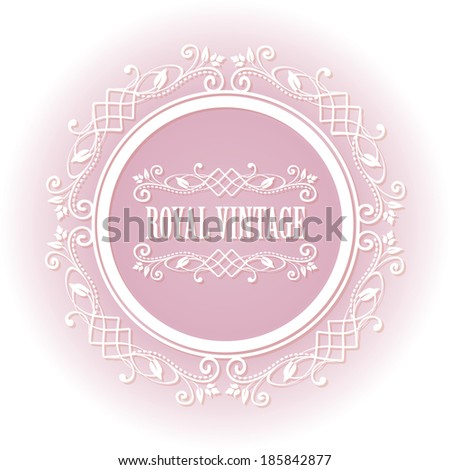Soft pink floral border round frame for your photo or sample text isolated on white background. For tender girl and woman. Vector illustration. - stock vector