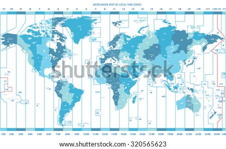 soft tints of blue worldwide map of local time zones - stock vector