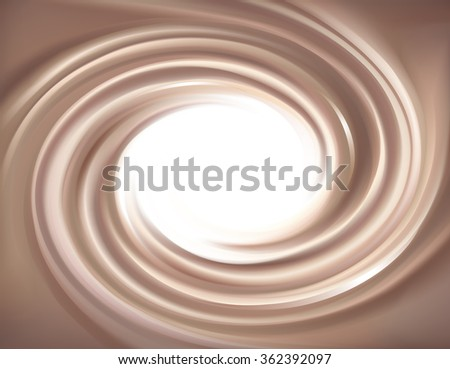 Soft wonderful mixed light khaki color curvy eddy ripple luxury fond. Sweet yummy ecru volute fluid smooth choco liqueur sauce surface with space for text on glowing milky white border - stock vector