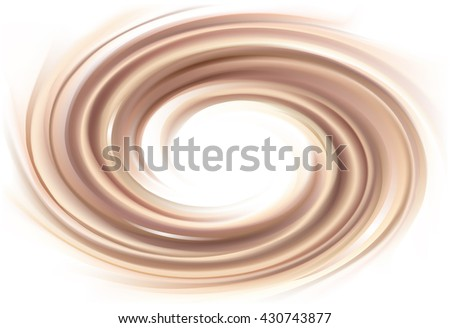 Soft wonderful mixed light khaki color curvy eddy ripple luxury fond. Sweet yummy ecru volute fluid smooth choco creamy sauce surface with space for text in glowing milky white center - stock vector