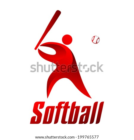 Softball, athlete on a white background, sports icons, vector illustration - stock vector