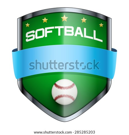 Softball Shield badge. The symbol of the sports club or team. Vector Illustration isolated on white background. - stock vector