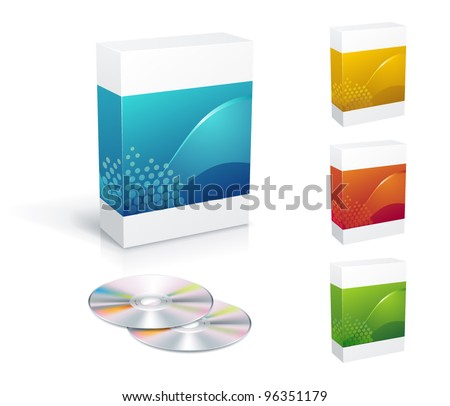 Software box set with copy-space - stock vector