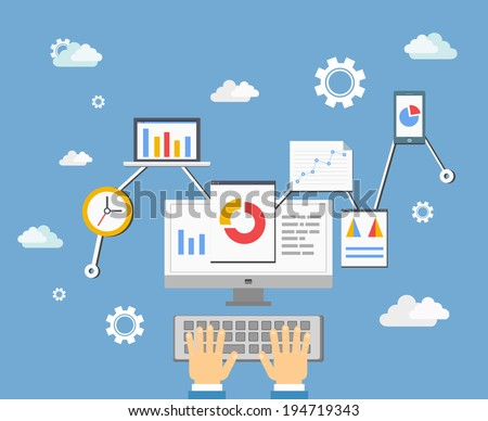 software developer (app) or statistics analyst technology concept, vector eps10 illustration - stock vector
