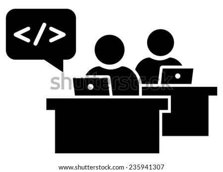 Software developers at workplace icon  - stock vector