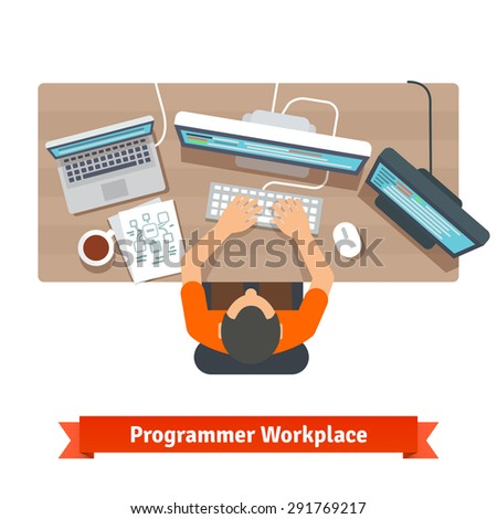 Software programmer typing code or debugging. Sitting at the desk, working on multiple displays. Top view flat vector illustration. - stock vector