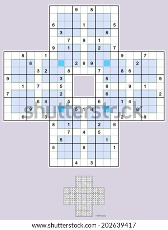 Sohei Sudoku. Four overlapping windoku puzzles. Full symmetry. Easy,  72 clues. - stock vector