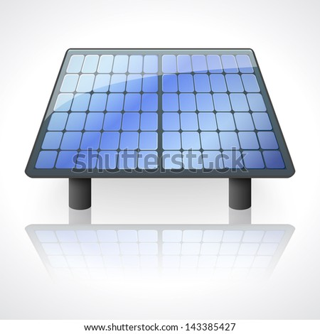 Solar battery panel isolated on white background. Vector illustration for your energy design. Alternative sources of energy. - stock vector