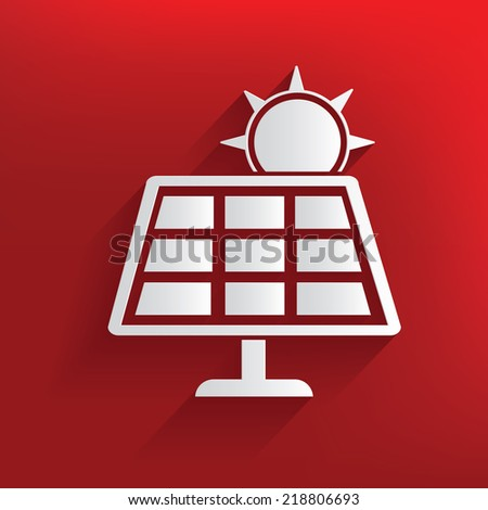 Solar cell on red background,clean vector - stock vector