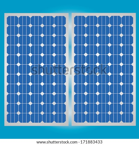 Solar cell panel for clean energy  - stock vector