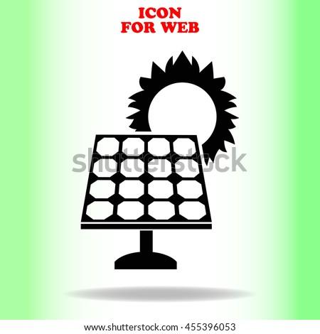 Solar collector icon vector web icon. Black illustration on white background - stock vector