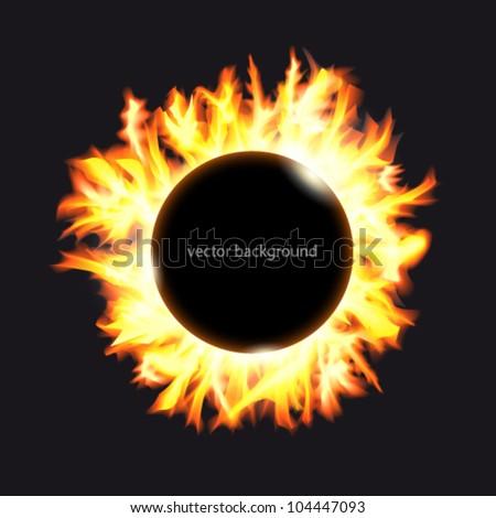 Solar eclipse. Frame of solar protuberances on a dark background. - stock vector