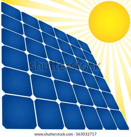 Solar energy icon. Solar panel and Sun. - stock vector
