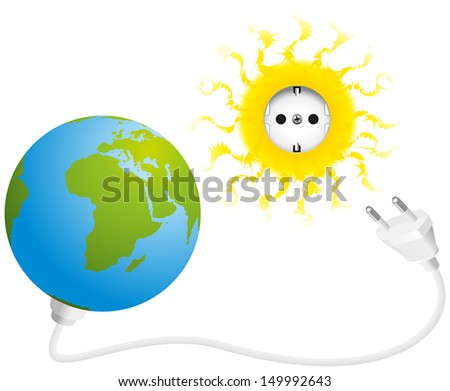Solar Energy - Illustration of sun, earth, socket and plug, a symbol for solar energy and green electricity. Isolated vector on white background. - stock vector