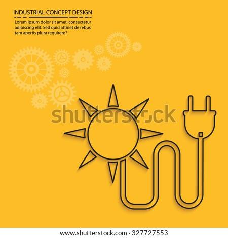 Solar energy on yellow background,clean vector - stock vector