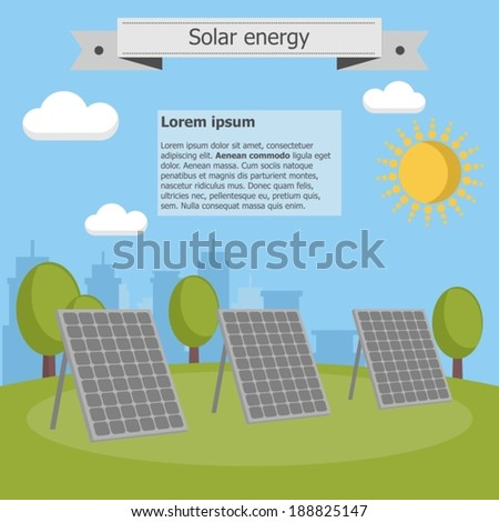 solar energy panel city sun info graphic ecology - stock vector