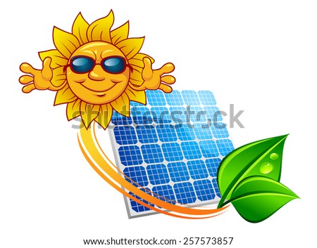 Solar energy panel decorated sun rays and green leaves in dew above them happy cartoon sun in sunglasses for alternative power sources concept design - stock vector
