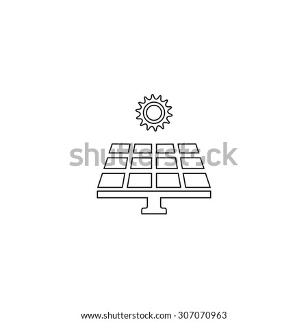Solar energy panel. Outline black simple vector pictogram - stock vector