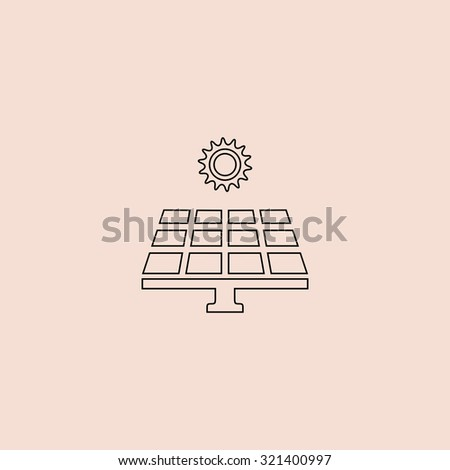 Solar energy panel. Outline vector icon. Simple flat pictogram on pink background - stock vector