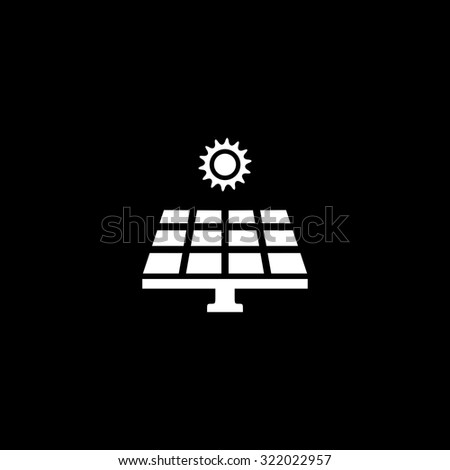 Solar energy panel. Simple flat icon. Black and white. Vector illustration - stock vector