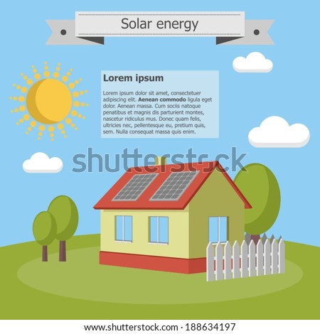 solar energy panels house ecology - stock vector