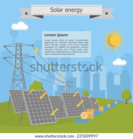 solar energy power lines money - stock vector
