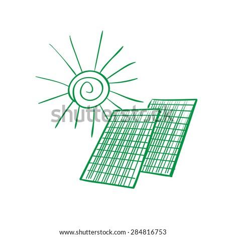 Solar panel energy scheme as doodles sketch how to convert or transform solar energy for the consumer - stock vector