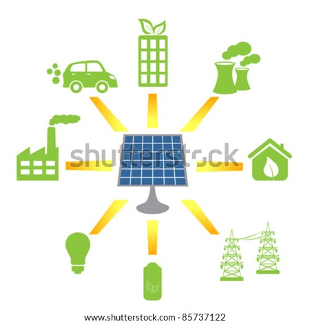 Solar panel generating clean alternative energy and fuel - stock vector