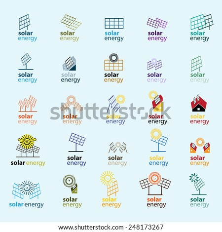 Solar Panel Icons Set - Isolated On Blue Background - Vector Illustration, Graphic Design, Editable For Your Design - stock vector