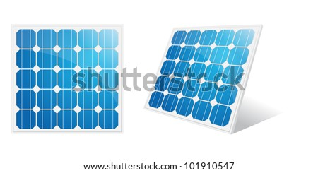Solar panel isolated on a white. Vector illustration. - stock vector