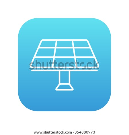 Solar panel line icon for web, mobile and infographics. Vector white icon on the blue gradient square with rounded corners isolated on white background. - stock vector