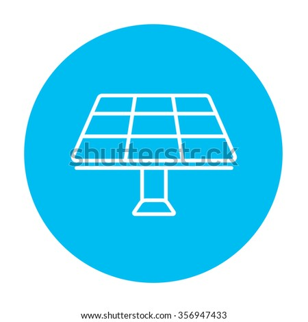 Solar panel line icon for web, mobile and infographics. Vector white icon on the light blue circle isolated on white background. - stock vector