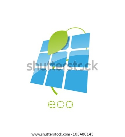 solar panel sign - stock vector