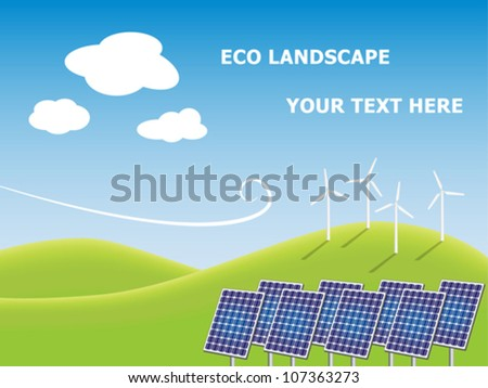 Solar panels and windmills on green field. Ecological concept. Editable vector illustration. - stock vector
