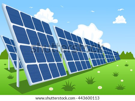 Solar panels or photovoltaic modules, vector illustration - stock vector