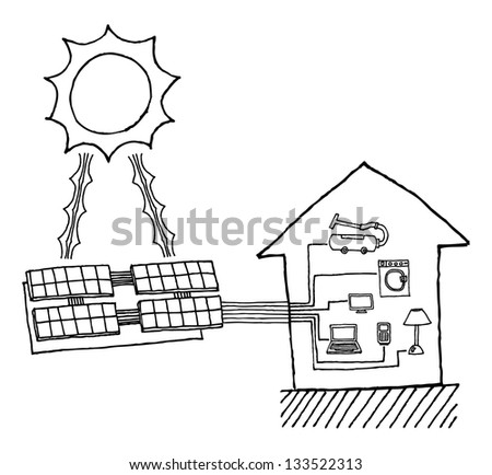 Solar power graphic / Cheap energy working diagram - stock vector