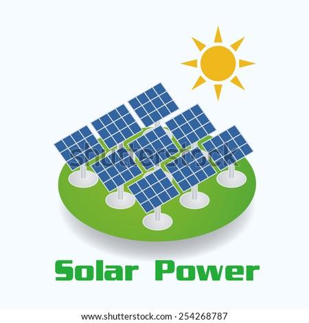 Solar Power image illustration  - stock vector