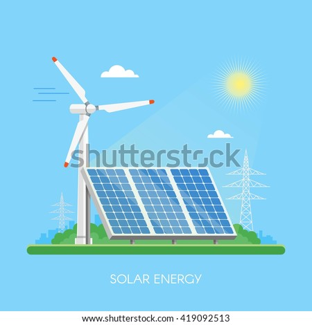 Solar power plant and factory. Solar panels. Green energy industrial concept. Vector illustration in flat style. Solar station background. Renewable energy sources. - stock vector
