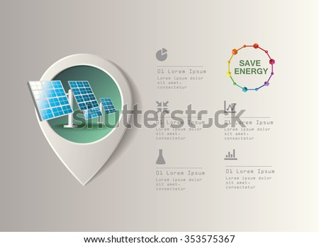 Solar power plant vector image. Green industry infographic - stock vector